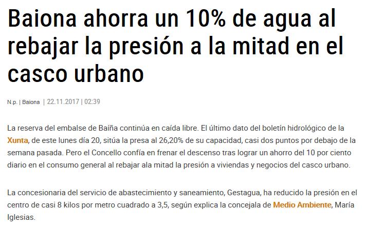 Baiona ahorra un 10% de agua al rebajar la presión a la mitad en el casco urbano