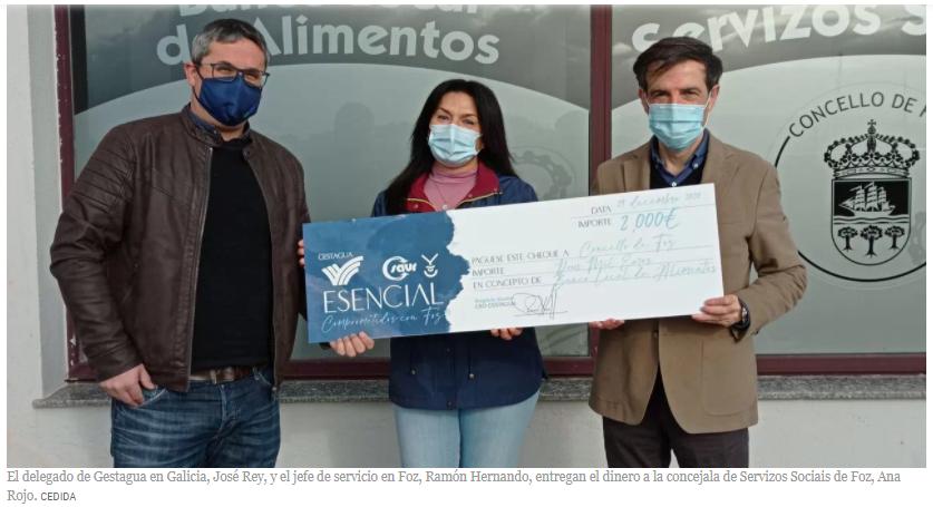 Gestagua dona el dinero de la comida de Navidad de Madrid al banco de alimentos de Foz